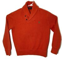 Polo Ralph Lauren Mens Size Medium Solid Orange Long Sleeve Pullover Sweater Top
