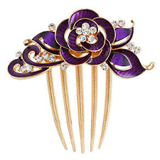 Dark Purple Rose Hair Bun Decoration Gold Hair Comb Evening Prom Wedding Birdal