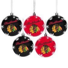 Chicago Blackhawks Shatterproof BALLS Christmas Tree Holiday Ornaments Set 5 pk