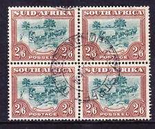 SOUTH AFRICA 1949 SG121 2/6 green & brown fine used pairs in block of 4. Cat £60