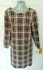 ❤ PHASE EIGHT Size 12 Black Brown White Textured Stretch Shift Dress Back Zip
