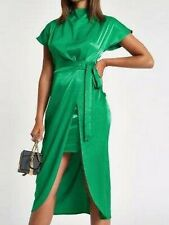 River Island Wrap Tie Side Midi Dress High Neck - Green - Size 12. Tagged At £50