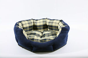 Blue Tartan Check Soft Dog Beds With Water Proof Base, Machine Washable 3 Sizes