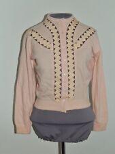 1950's Dalton Cashmere Pink Cardigan Sweater w Ribbon Trim Sm