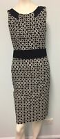 Basque black cream cross pattern trimmed  black straight dress size 8 womens