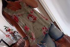 Hängerchen Neu Seide Grün Bluse M L 42 Blogger Tunika Ibiza Shirt Top Chic Boho