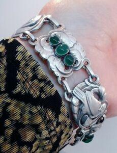"""Vintage Georg Jensen 830 Silver Dove Design Green Cabochons Bracelet #14 """"GI"""""""