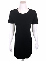 Isaac Mizrahi Pima Cotton Dress with Rolled Sleeves Solid Black Small Size