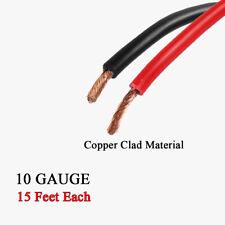 Black Red Flex Copper Clad Power Wire 10 Gauge Automotive Primary Cable 15FT EA