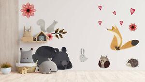 Forest Animals Wall Decal Decor Sticker Vinyl Watercolour Nursery Decor KA29