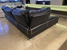 King living delta II Black leather sofa modular lounge furniture