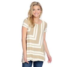 OSO Casuals® Striped Knit Cap Sleeve Pieced Front Hi-Lo Top Taupe 2X A428505 J