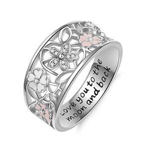 Flower Shaped Women Jewelry 925 Silver Ring White Sapphire Girl Jewelry Sz 6-10