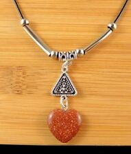 Brown Goldstone Gemstone Heart Necklace Pendant with Silver Tube Bead #1039
