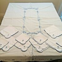 Vintage White Cotton Tablecloth And Napkins Blue Embroidered Flowers Trim