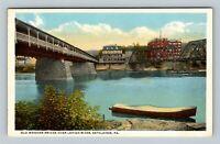 Bethlehem PA, Old Wooden Bridge, Lehigh River, Vintage Pennsylvania Postcard