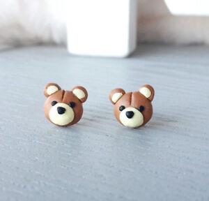 Teddy Bear Stud Earrings Handmade Polymer Clay Bear Earrings Surgical Steel Post