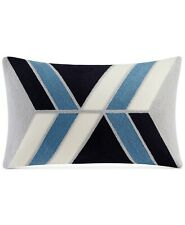 """New ListingInk+Ivy 12"""" x 20"""" Decorative Oblong Pillow Aero Embroidered Abstract Blue 116"""