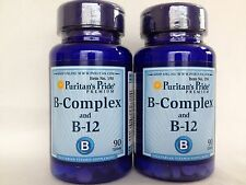 2 Puritan's Pride  Vitamin B-Complex And Vitamin B-12 - Value Pack! Made In USA