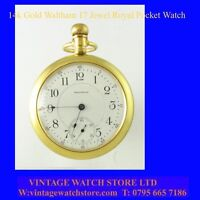 Stunning Victorian 14k Gold Waltham 17 J Royal RR Pocket Watch 1900