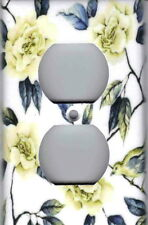 WHITE CREAM ROSES WITH BLUE LEAVES - HOME WALL DECOR OUTLET COVER