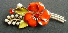 CORO-VINTAGE-GORGEOUS BROOCH-FLOWERS BOUQUET-ENAMEL-FAUX PEARLS-RHINEST. CO-10