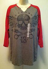 XG Premium Quality Mens Large/L Charcoal Gray Red 3/4 Sleeve Skull Shirt BNWT