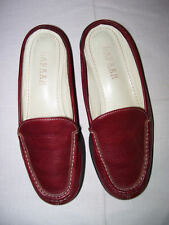 RALPH LAUREN BEAUTIFULLY MADE DARK RED LEATHER WOMEN'S LOAFER SLIDES, 7B, EUC