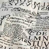 50x150cm Vintage Cotton Linen Fabric DIY Home Deco Print English Newspaper E