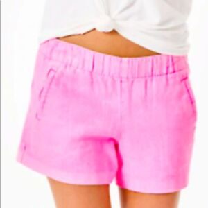 LILLY PULITZER LUXLETIC LILO XL PELICAN PINK LINEN SHORTS NWT NEW GARMENT DYED
