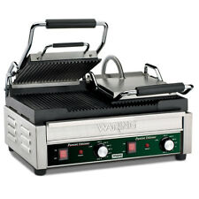 "Waring Wpg300 Dual Sandwich Panini Grill 17"" x 9.25"" Ribbed Plates 240v"