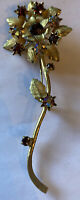 Vintage Costume Jewellery Aurora Borealis Crystal Gold Tone Flower Large Brooch