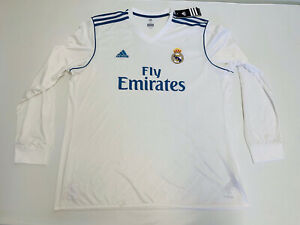 NWOT Men's Adidas Real Madrid 2017 Sz 2XL Long sleeve White Soccer Jersey