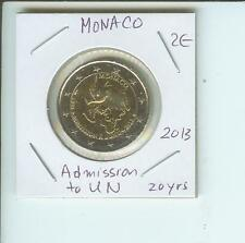2013 2€ MONACO 2 Euro 2-€ Commemorative Bimetallic Coin 20th Anniversary UN ONU