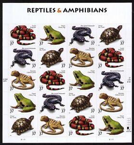 USA Sc# 3814 3815 3816 3817 3818 REPTILES & AMPHIBIANS Pane of 20 Stamps - MNH