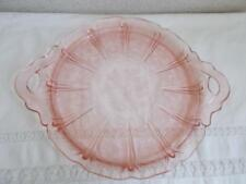 Antique Jeannette PINK CHERRY BLOSSOM Round CAKE PLATTER with HANDLES vintage