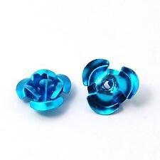 50 x  Aqua Blue Roses Beads 10mm Aluminium Metal Rose Flower