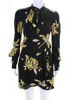 Joie Womens Gyan Silk Dress Black Yellow Size 4 11655042