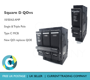 Square D QOvs 10/50/63A Single/Triple Pole Type C Circuit Breaker MCB (QOE)