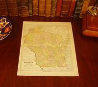 Original 1890 Antique Map WISCONSIN Milwaukee Green Bay Eau Claire West Allis WI
