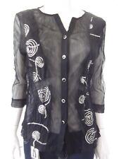 SANDRA STEINER Womens 3/4 sleeve Black sheer top size S