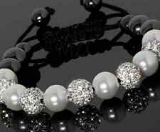 4pcs/lot 10mm white men women Wholesale Beads Crystal Shamballa Bracelet bangle