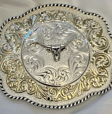 Silver & Gold 2 Tone Western Cowboy Montana Silversmiths  Large Belt Buckle