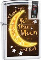 Zippo 29059 i love you to the moon and back polish chrome Lighter + FLINT PACK