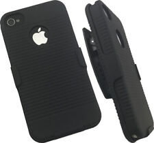 NEW BLACK CASE + BELT CLIP HOLSTER FOR APPLE iPHONE 4S 4 SPRINT VERIZON AT&T