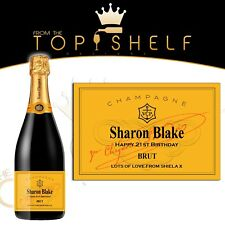 Personalised Veuve Cliquot champagne replica bottle label birthday any occasion