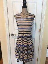 Anthropologie Sparrow Women's Sleeveless Dress Size Large Blue Stripes