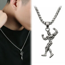 Muscle Man Pendant Necklace Stainless Steel Gym Fitness Bodybuilding Jewelry