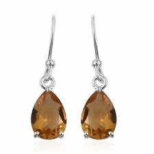 Citrine (Pear) Hook Earrings in Sterling Silver 3.250 Ct.