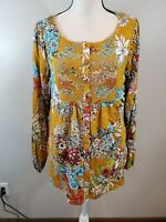 Kori America Medium Women's Tunic Top Floral Peasant Semi Sheer Shirt